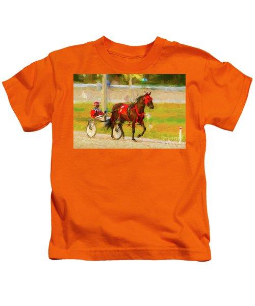 Horse, Harness And Jockey Kids T-Shirt