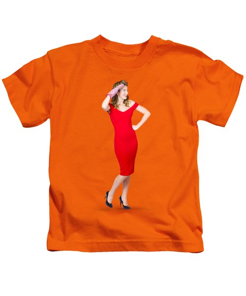 Isolated Female Pin Up Cook On Stove Watch Kids T-Shirt