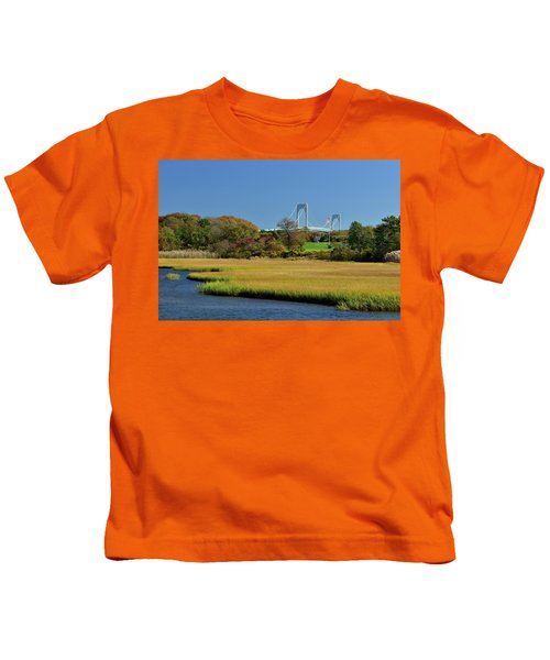 Jamestown Marsh With Pell Bridge Kids T-Shirt