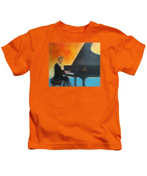 Justin Levitt At Piano Red Blue Yellow Kids T-Shirt