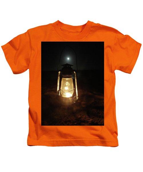 Kerosine Lantern In The Moonlight Kids T-Shirt by Exploramum Exploramum