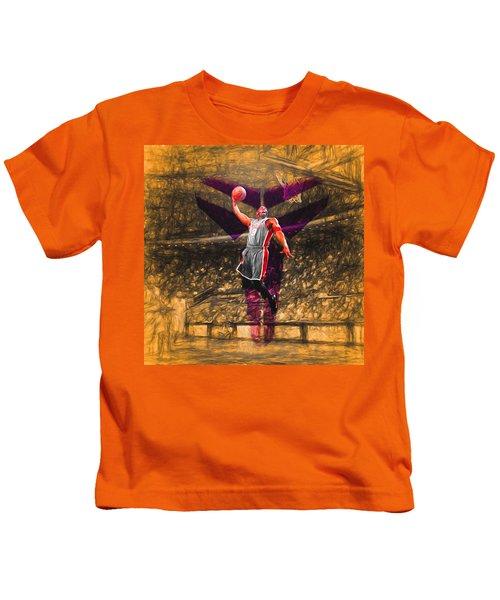 Kobe Bryant Black Mamba Digital Painting Kids T-Shirt by David Haskett