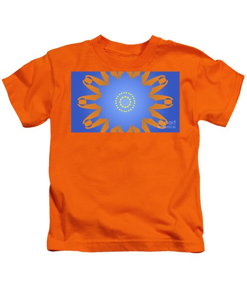 Landscape Abstract Blue, Orange And Yellow Star Kids T-Shirt