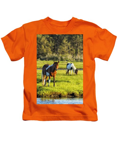 Leaving The Chincoteague Ponies Kids T-Shirt