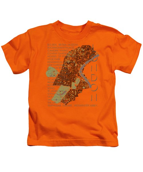 London Classic Map Kids T-Shirt by Jasone Ayerbe- Javier R Recco