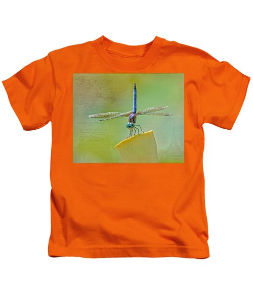 Male Blue Dasher Dragonfly Kids T-Shirt