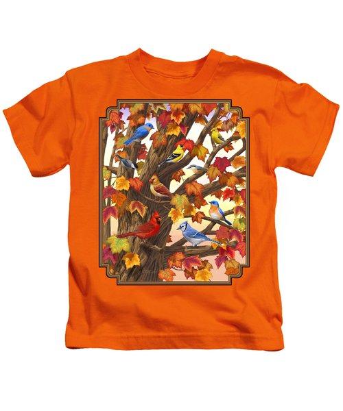 Maple Tree Marvel - Bird Painting Kids T-Shirt