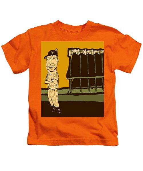 Mickey Mantle Yankee Stadium Kids T-Shirt by Jay Perkins