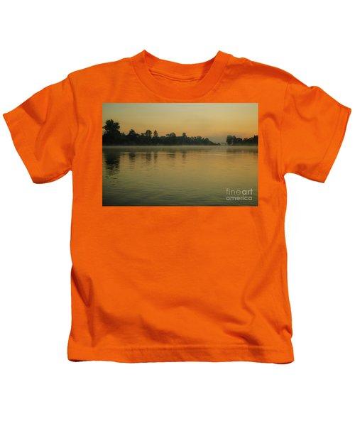 Misty Morning Lake Kids T-Shirt