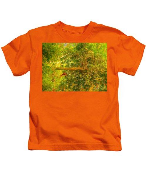 Misty Yellow Hue- Ringed Kingfisher In Flight Kids T-Shirt