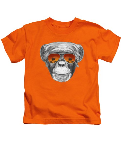 Monkey With Mirror Sunglasses Kids T-Shirt by Marco Sousa