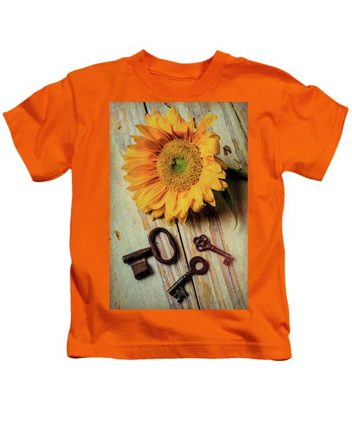 Moody Sunflower With Keys Kids T-Shirt