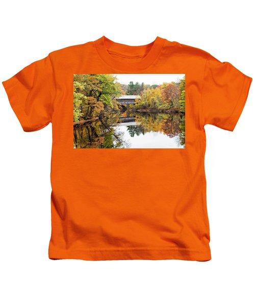 New England Covered Bridge No.63 Kids T-Shirt
