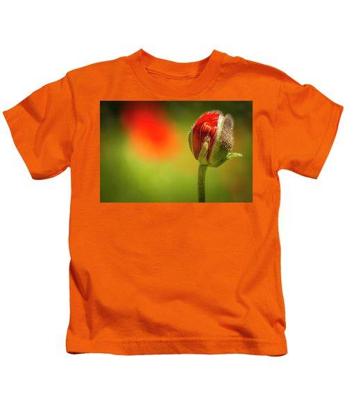New Orange Poppy Bloom Kids T-Shirt