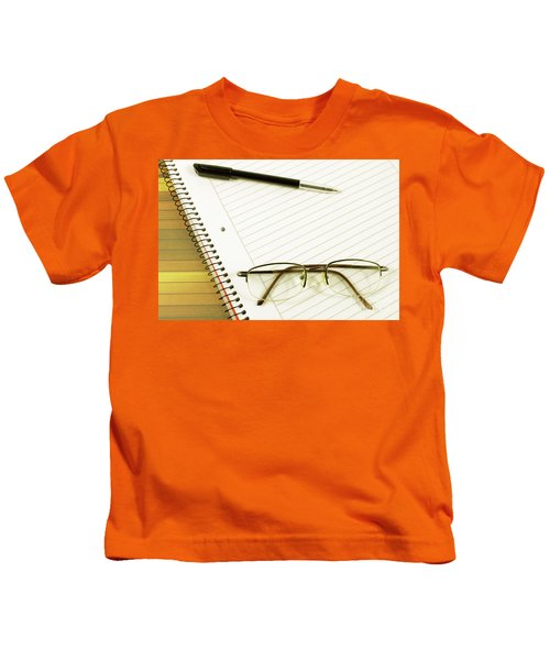 Notebook Pen And Eyeglasses Kids T-Shirt