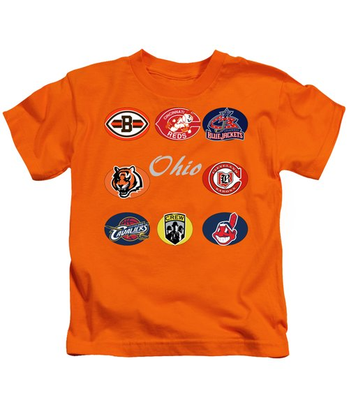 Ohio Professional Sport Teams Collage Kids T-Shirt by Movie Poster Prints