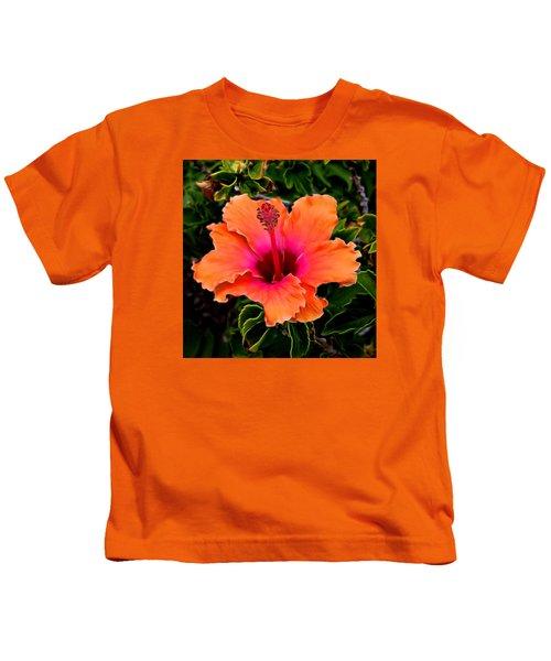 Orange And Pink Hibiscus 2 Kids T-Shirt