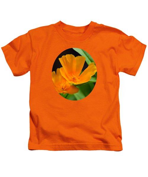 Orange California Poppies Kids T-Shirt by Christina Rollo
