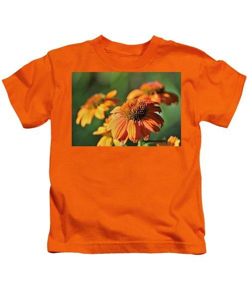 Orange Cone Flowers In Morning Light Kids T-Shirt