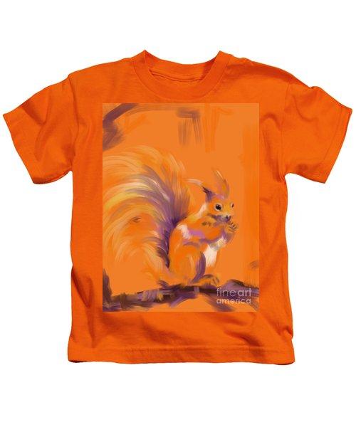 Orange Forest Squirrel Kids T-Shirt