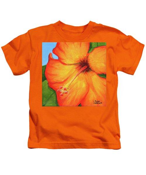 Orange Hibiscus Flower Kids T-Shirt