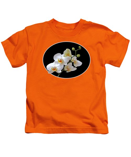Orchids On Black And Orange Kids T-Shirt