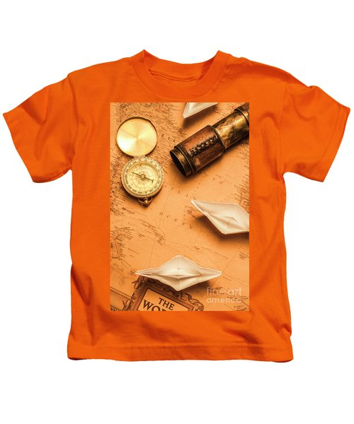Origami Paper Boats On A Voyage Of Exploration Kids T-Shirt