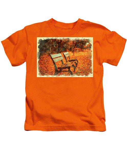 Park Bench In Fall Kids T-Shirt
