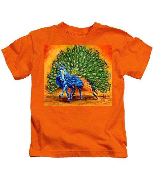 Peacock Pegasus Kids T-Shirt by Melissa A Benson