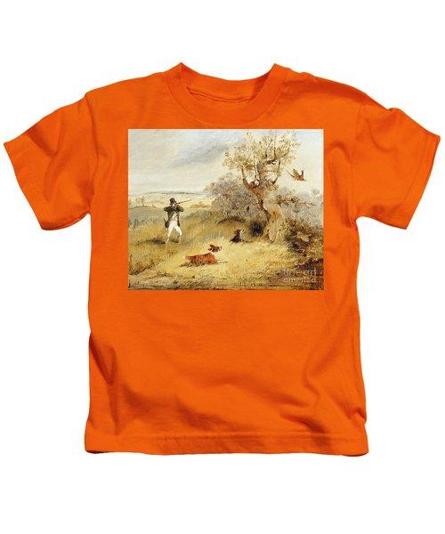 Pheasant Shooting Kids T-Shirt by Henry Thomas Alken
