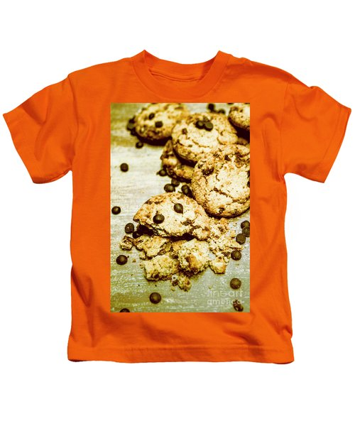 Pile Of Crumbled Chocolate Chip Cookies On Table Kids T-Shirt