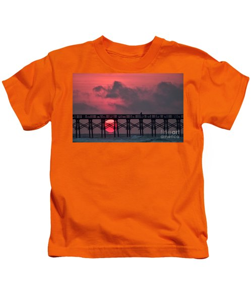 Pink Pier Sunrise Kids T-Shirt