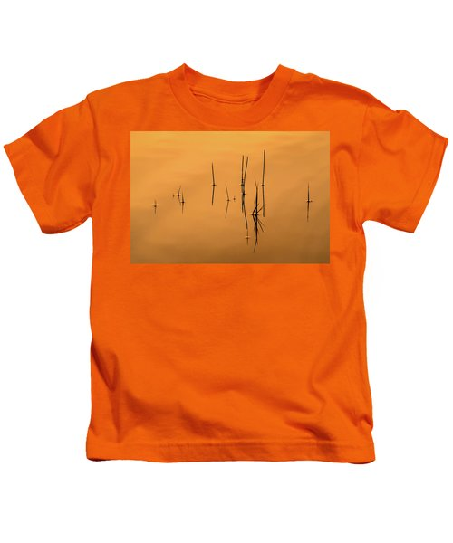 Pond Reeds In Reflected Sunrise Kids T-Shirt