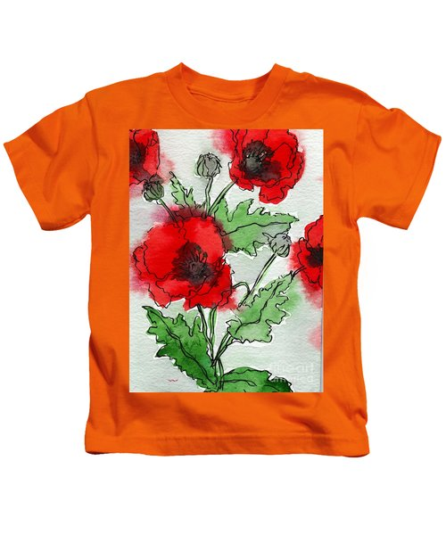 Watercolor Poppies Kids T-Shirt