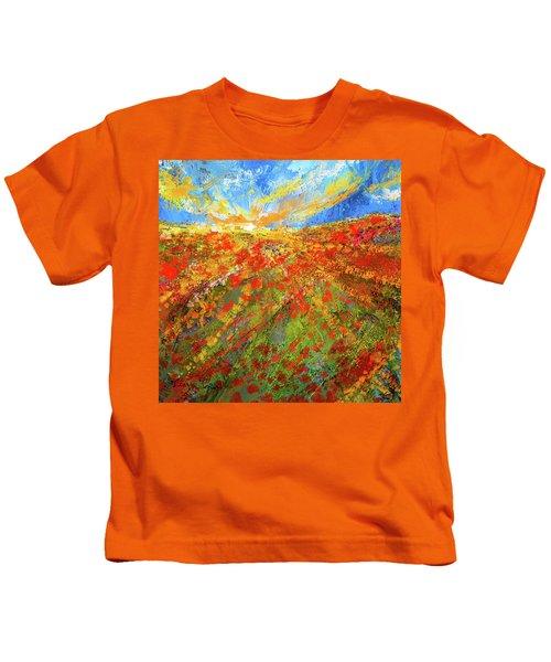 Prairie Sunrise - Poppies Art Kids T-Shirt