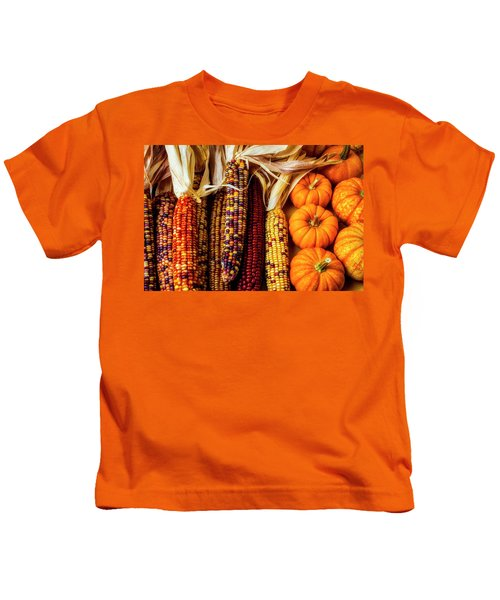 Pumpkins And Indian Corn Kids T-Shirt