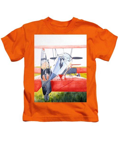 Reflection On Biplane Kids T-Shirt