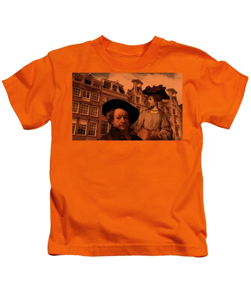 Rembrandt Study In Orange Kids T-Shirt