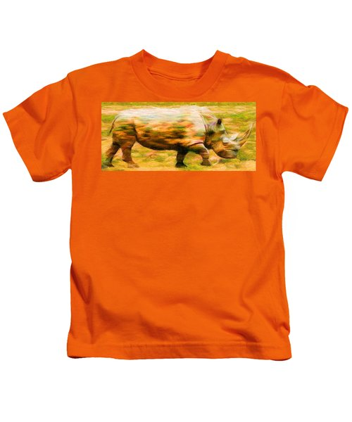Rhinocerace Kids T-Shirt by Caito Junqueira