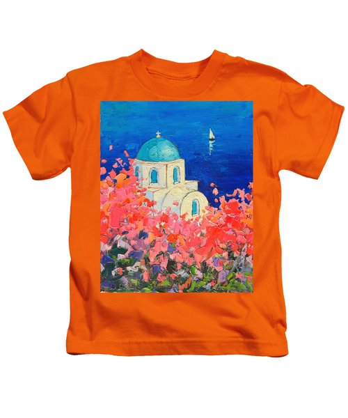 Santorini Impression - Full Bloom In Santorini Greece Kids T-Shirt