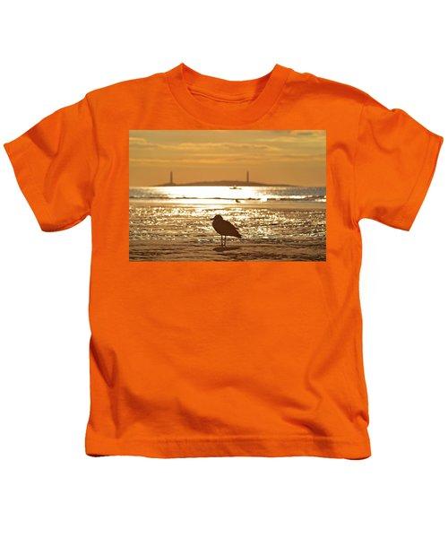 Seagull Admiring Thacher Island Gloucester Ma Good Harbor Beach Kids T-Shirt