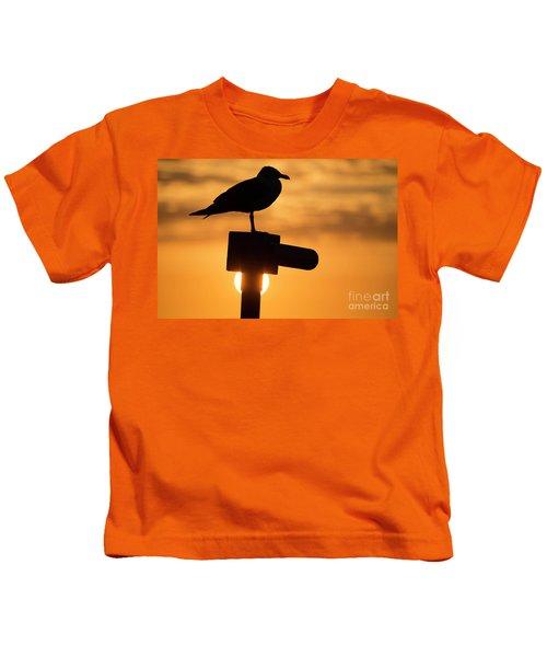 Seagull At Sunset Kids T-Shirt