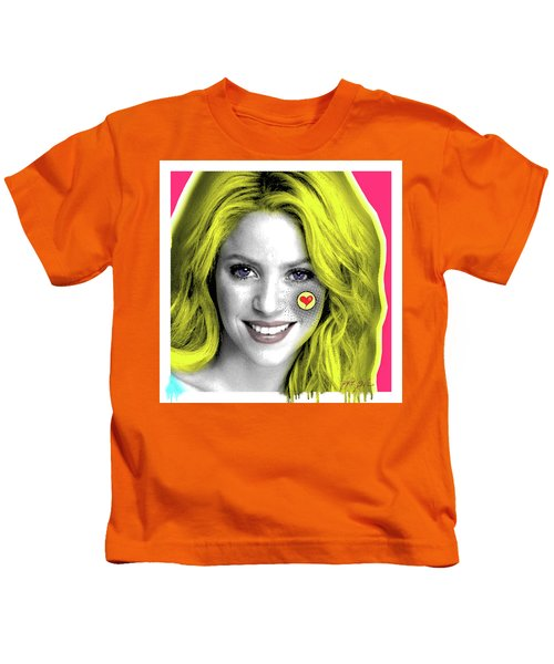 Shakira, Pop Art, Pop Art, Portrait, Contemporary Art On Canvas, Famous Celebrities Kids T-Shirt by Dr Eight Love