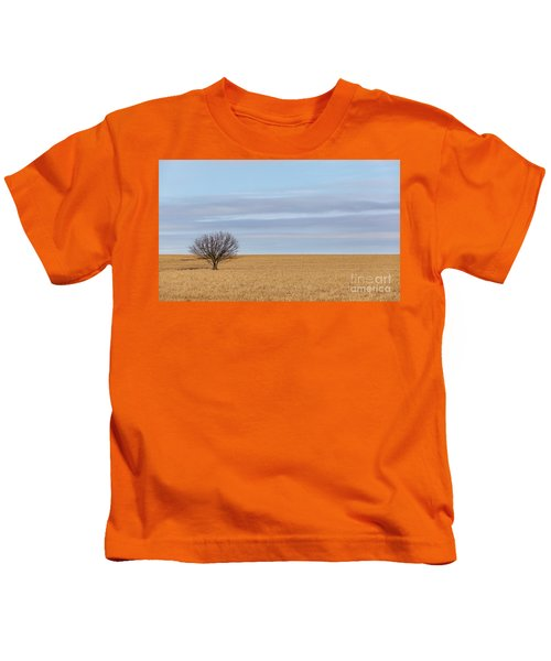 Single Tree In Large Field With Cloudy Skies Kids T-Shirt
