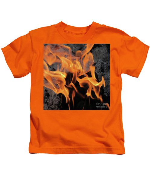 Sitting By The Crackling Fire Kids T-Shirt
