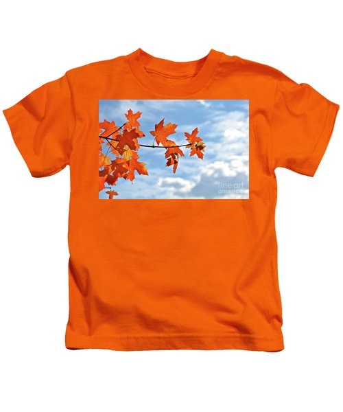 Sky View With Autumn Maple Leaves Kids T-Shirt