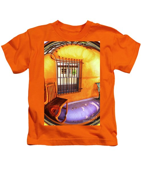 Southwestern Porch Distortion With Puple Floor Kids T-Shirt
