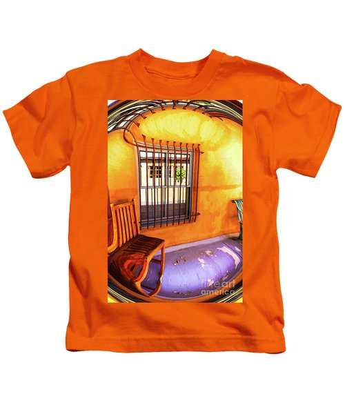 Southwestern Porch Distortion With Puple Floor Kids T-Shirt