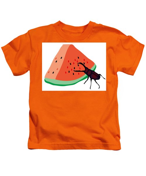 Stag Beetle Is Eating A Piece Of Red Watermelon Kids T-Shirt