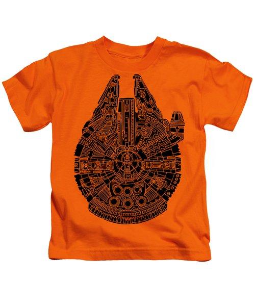 Star Wars Art - Millennium Falcon - Black Kids T-Shirt by Studio Grafiikka